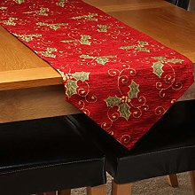 QPC Direct Chenille Christmas Holly Table Runner,