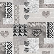 QPC DIRECT Knitted Hearts Charcoal PVC Oilcloth