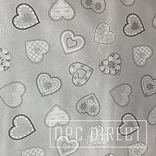 QPC Direct Large Grey Silver Hearts PVC Oilcloth