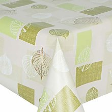 QPC Direct Patchwork Leaves Green PVC Oilcloth