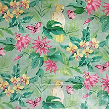 QPC Direct Polly Parrot Tropical Flowers TEAL PVC