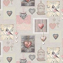 QPC DIRECT Vintage Birdcage Blush Pink PVC
