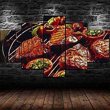 QQQAA Canvas Prints Artwork 5 Panels Wall Art