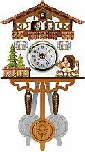 QSTRE Mini Wall Clock with Pendulum Wooden Clock