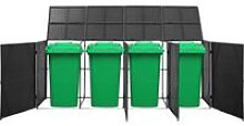 Quadruple Wheelie Bin Shed Black 305x78x120 cm
