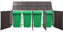 Quadruple Wheelie Bin Shed Brown 305x78x120 cm