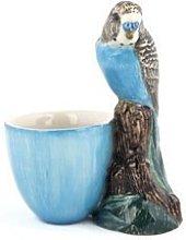 Quail Ceramics - Budgerigar Figure Egg Cup - Blue