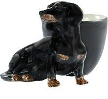 Quail Ceramics Dachshund Black/Tan Egg Cup