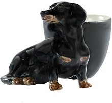 Quail Ceramics Dachshund Black/Tan Egg Cup
