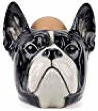 Quail Ceramics French Bulldog Face Egg Cup - Black