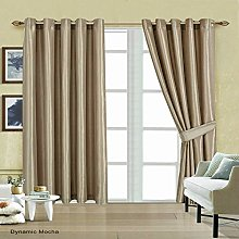 Quality Faux Silk Curtain Pair Ring Top Fully