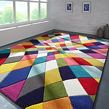 Quality Handcarved Geometric Design Rainbow Multi