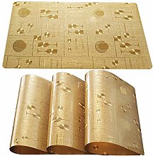 Qualsen Gold Placemats Set of 4 Wipe Clean PVC