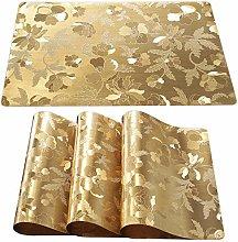 Qualsen Gold Placemats Set of 8 Wipe Clean PVC
