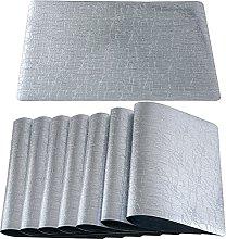 Qualsen Silver Placemats Set of 8 Wipe Clean PVC
