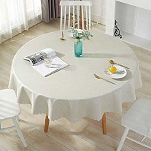 Qualsen Table Cloth Wipeable Round Tablecloth PU