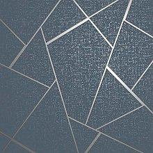 Quartz Fractal Wallpaper Textured Metallic Navy