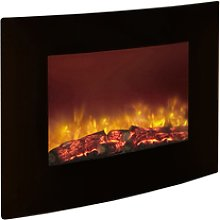 Quattro Wall Mounted Curved Black Glass Electric