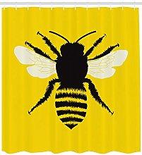 Queen Bee Shower Curtain Honeybee Silhouette Print
