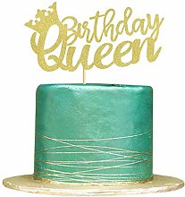 Queen Birthday Cake Topper Gold Glitter Queen Cake