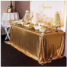 QueenDream Sequin Tablecloth Gold Tablecloth 50x80
