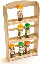 Queiting 3 Tier Spice Rack Wooden Wall Herbs Jar