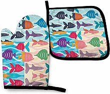 QUEMIN Oven Mitts and Pot Holders Set,Funky Fish