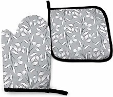 QUEMIN Oven Mitts and Pot Holders Set,Silver