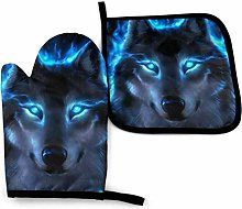 QUEMIN Oven Mitts and Pot Holders Set,Silver Wolf