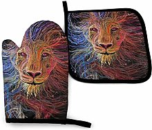 QUEMIN Painted Lion Art Printed Oven Mitts and Pot