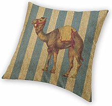 QUEMIN Square Throw Pillow Covers Camel Blue