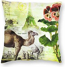 QUEMIN Square Throw Pillow Covers Pansy Camel