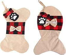QUERT 2pcs Pet Dog Christmas Stockings Linen Bone