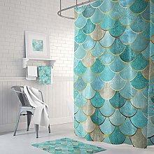 Qui556 Mermaid Scales Shower Curtain Teal