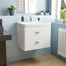 Quickely 600mm 2 Drawer White Wall Hung Vanity