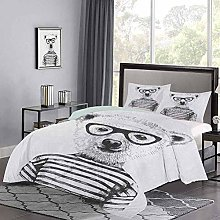 Quilt Cover Dressed Up Hipster Nerd Smart Male