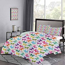 Quilt Cover Surreal Animal Silhouettes with Floral
