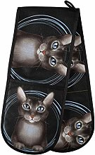 Quilted Double Oven Mitt - Black Cat Connected