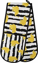 Quilted Double Oven Mitt - Cute Yellow Elephants