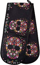 Quilted Double Oven Mitts - Halloween Floral Skull