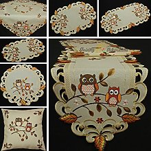 Quinnyshop Cute Owl In Fall Embroidery Table