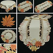 Quinnyshop Doily Harvest Leaves Embroidery 16-Inch