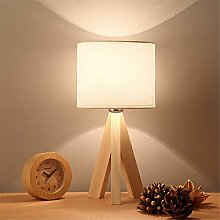 QULONG Bedside Table Lamp, Creative Linen Wooden