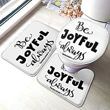Quote Bathmat,Be Joyful 3 Piece Bathroom Rug Mat