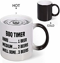 Quotes Discoloration Mug,BBQ Timer Novelty Mug Cup