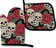 Qurbet Oven Gloves Black Skull with Roses Oven