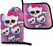 Qurbet Oven Gloves Pink Girls Skull Oven Mitts and