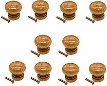 Quyi Wooden Cabinet Knobs 10Pcs Drawer Knobs Set
