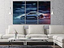 QWASD Colorful Abstract Car Canvas Print Wall Art