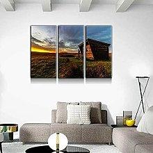 QWASD Wood Cabin Sunrise Canvas Print Wall Art
